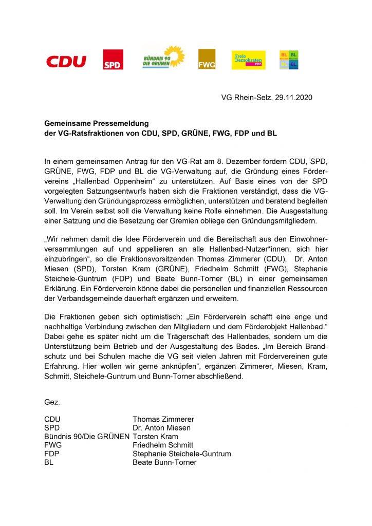 Antrag Förderverein Hallenbad Oppenheim